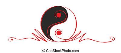 yin and yang - abstract yin and yang sign as decorative...