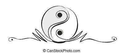 yin and yang - abstract yin and yang sign as decorative ...