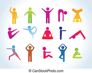 abstract yoga people icon template