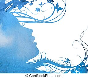 abstract Young girl face silhouette in profile