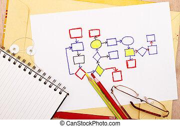 abstract, zakelijk, informatiestroomschema, diagram