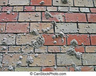 abstract, zand, stippen, op, baksteen muur, industrie, details
