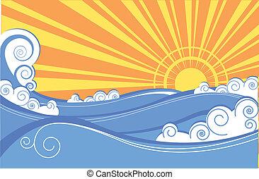 abstract, zee, waves., vector, illustratie, van, zee, landscape