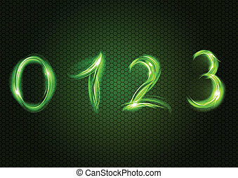 Green number ZERO, ONE, TWO, THREE.