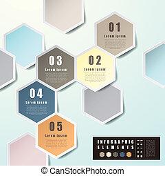 abstract, zeshoek, etiket, infographics