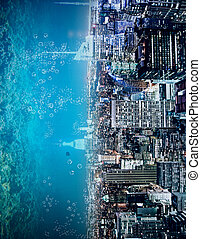 abstract, zijwaarts, water, stad, achtergrond