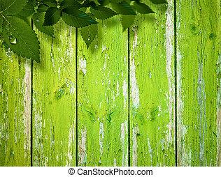 abstract, zomer, en, lente, achtergronden, met, gebladerte, en, houten hek