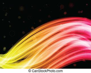 abstract, zwarte achtergrond, kleurrijke, golven