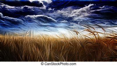 abstracted, campo, y, cielo