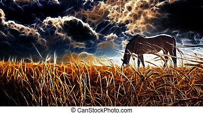 Abstracted Horse grazing in field with stormy sky