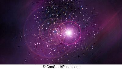abstraction, étoile, render, espace, effet lumière, moderne, -, effet, illustration, engendré, fond, petites taches, réfraction, informatique, 3d