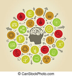 Objects of science round a head of the person. A vector illustration