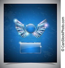Abstraction blue background with  wings.