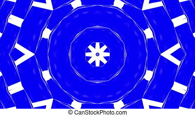 abstraction blue white kaleidoscope animation. 3d render