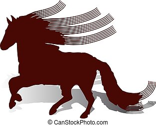 Abstraction, brown Horse with long wavy and long mane, runs, on white background,