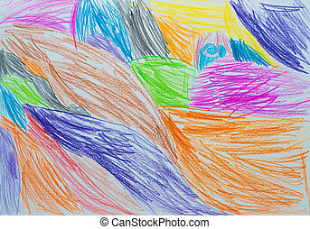 child's drawing - abstraction child's drawing pencil