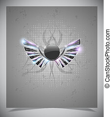 Abstraction grey background with  wings.vector