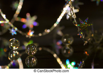 Abstraction - Marbles, christmass decorations, over black