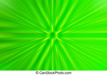 Abstraction of green light with rays that converge in the center.