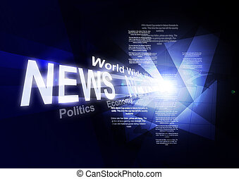 Abstraction on social media news. Blue blue abstraction with large inscription news, abstract background glow