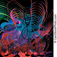 abstraction red, blue and green music - dark background and...