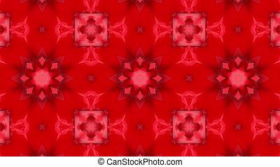 Abstraction red-orange kaleidoscope animation. 3d render