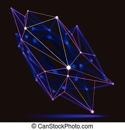 abstraction, science, conception abstraite, dimensionnel, maille, treillis, forme, profondeur, technologie, numérique, dynamique, connexions, réaliste, points, effect., polygonal, champ, 3d, style, vecteur, lignes