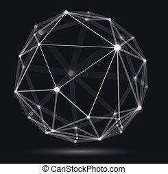 abstraction, science, conception abstraite, dimensionnel, maille, treillis, profondeur, technologie, numérique, dynamique, connexions, réaliste, points, effect., polygonal, sphère, champ, 3d, style, vecteur, lignes