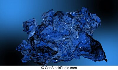 Abstraction substance of blue color smoothly moves. Blue background