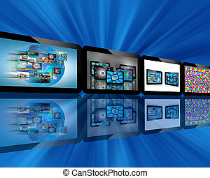 Abstraction which depicts several tablets with different images for designers for various necessities.