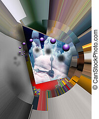 Abstraction - Time CLock Hands Surreal Abstract
