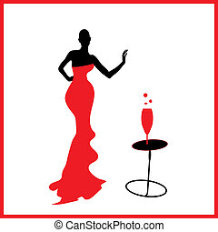 Abstraction WOMAN silhouette black and red glass - ...