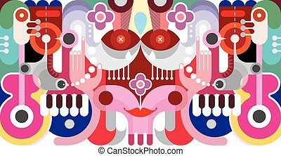 abstrakcyjna sztuka, ilustracja