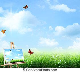 abstrakcyjna sztuka, tła, pod, przedimek określony przed rzeczownikami, błękitne niebiosa