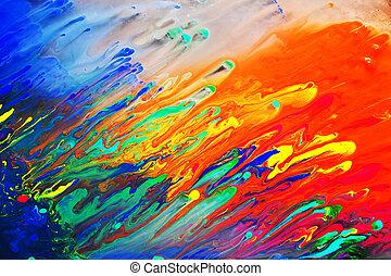 abstrakcyjne malarstwo, akryl, barwny