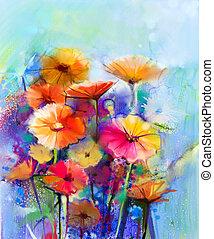 abstrakcyjne malarstwo, akwarela, kwiatowy