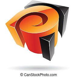 abstrakcyjny, 3d, barwny, sześcienny, ikona