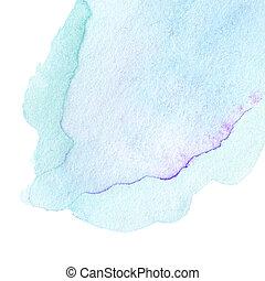 abstrakcyjny, akwarela, tło., barwny, błękitny polewają, kolor, sztuka, ręka, paint., bryzg, akwarela, struktura