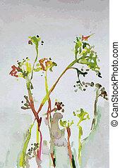 abstrakcyjny, -, akwarela, tło, kwiatowa chorągiew