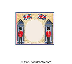 abstrakcyjny, anglia, beefeater, tło, bandera, żołnierz