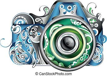 abstrakcyjny, aparat fotograficzny