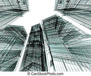 abstrakcyjny, architektoniczny, 3d, zbudowanie