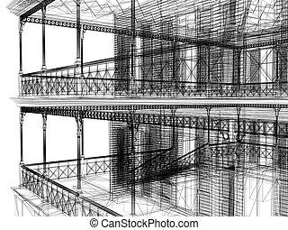 abstrakcyjny, architektura, 3d