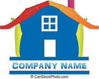 abstrakcyjny, błękitny dom, logo