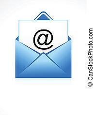 abstrakcyjny, błękitny, ikona, wektor, email