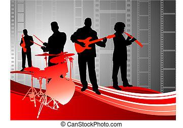 abstrakcyjny, banda, żywa muzyka, tło, film