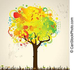 abstrakcyjny, barwny, drzewo
