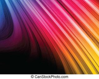 abstrakcyjny, barwny, fale, na, czarne tło