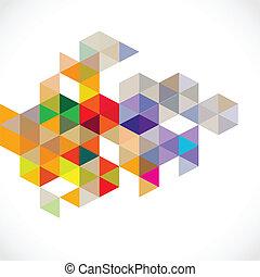 abstrakcyjny, barwny, nowoczesny, wielobok