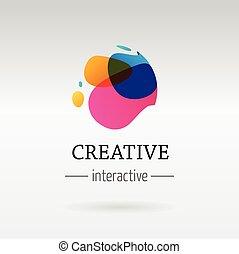 abstrakcyjny, barwny, wibrujący, element, modny, ikona